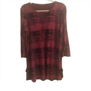 Cut Loose Red Black Abstract Print Tunic Top